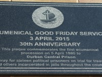 Good Friday Service – Commemorative Plaque at old prison wall