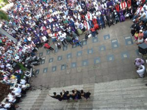 A scene from the 2016 Diakonia Good Friday Service – taken from the Durban City Hall balcony with participants below Pic Illa Thompson